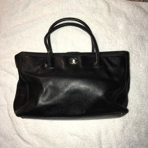 Chanel Black Cerf Calfskin Leather Tote